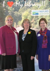 Assemblywoman Barbara Lifton with FLLS Executive Director Amy Zuch and Board President Christine Griffin.