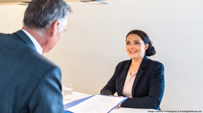 Woman on job interview