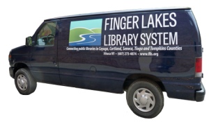 Image of a dark blue Finger Lakes Library System delivery van