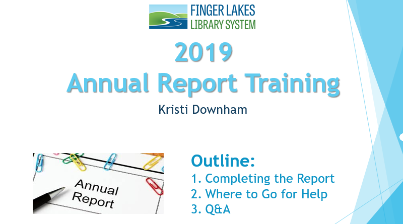 2019 Annual Report Training Webinar