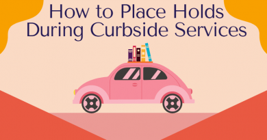 Graphic of a car with books on the roof and text: How to Place Holds During Curbside Services